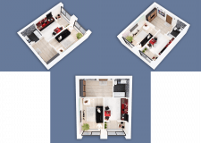 3D visualization of a one-room apartment NEW-5