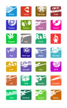 Иконки для музыкального мобильного приложения