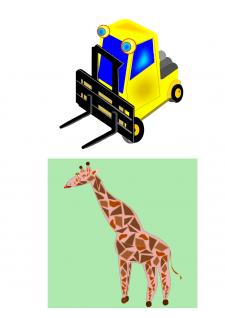 рисунок жираф и погрузчик
