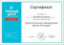 """Сертификат от Андрея Буйлова - """"SEO без воды"""""""