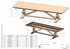 Чертежи, 3d модель - Обеденный стол