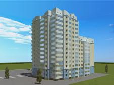 Высотка состоящая из трех блоков разной этажности
