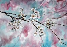 цветение вишни акварель