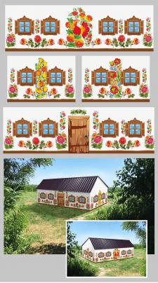 макет стен с банерной ткани в украинской стилистик
