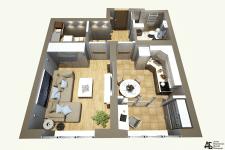 3д планировка для 1-комнатной квартиры