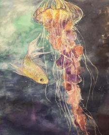 Медуза акварель гуашь