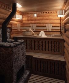 Дизайн интерьера бани из сруба
