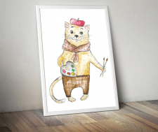 кот-художник, акварель