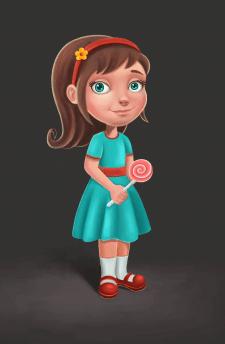 девочка с конфетой