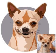 Векторный портрет собаки, питомца на заказ
