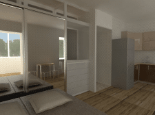 Квартира - студия :3D модель + визуализация .
