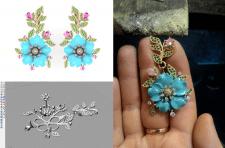 Серьги с цветочками