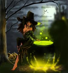 """иллюстрация для календаря, для друзей - """"ведьма"""""""