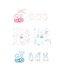 Логотип, персонаж и патерн на одноразовые детские