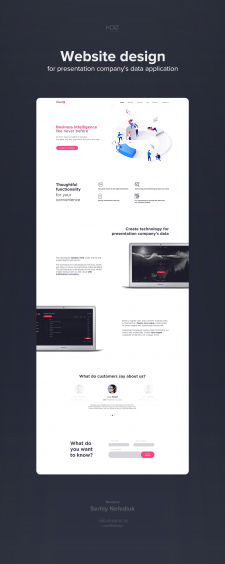Website design for presentation company's data app
