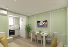 Дизайн интерьера гостиной с кухней в лоджии