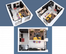 3D visualization of a one-room apartment NEW