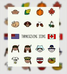Сет иконок ко дню благодарения