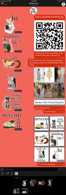 Стикеры. Кошки в нарядах с недели моды в NYC 2020