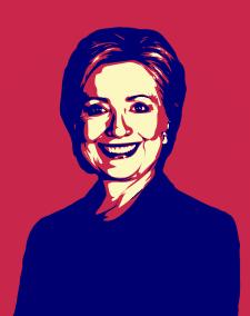 поп-арт портрет Хиллари Клинтон