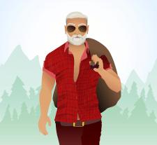 Санта хипстер, иллюстрация для открытки, вектор