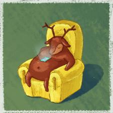Спящий олень