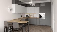 Визуализация кухни с полубарной стойкой