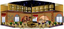 Интерьер ресторана на первом этаже гостиницы