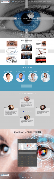 Landing page of Eye Clinic