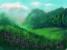 Эскиз утреннего пейзажа