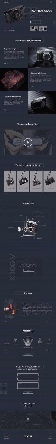 Лендинг- презентация новой модели фотоаппарата