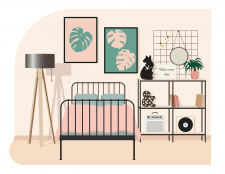 Иллюстрация на тему спальня