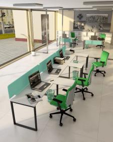 Офис с зелёным