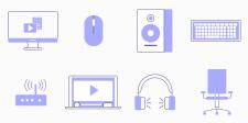 Сет векторных иконок на тему компьютеров