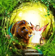Фотоколлаж. Маленькая фея в чудесном лесу.