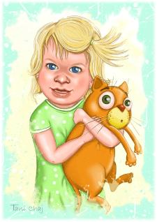 Портрет малышки с котом