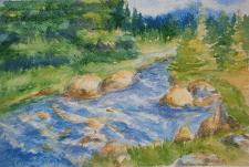 Горная река - Акварель