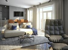 3д визуализация гостинной+кухни