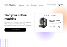 Home page for online store of coffee machine