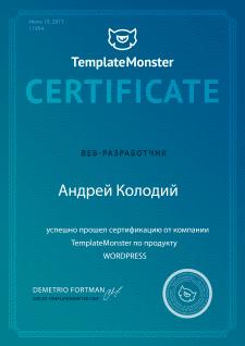 Сертификат специалиста по WordPress