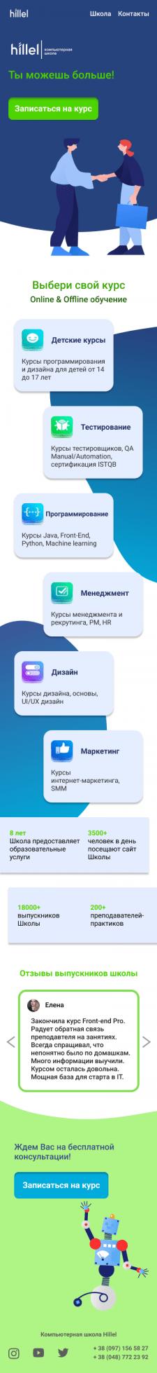 Адаптив на мобильную версию Landing Page