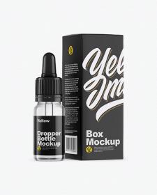 Clear Glass Dropper Bottle w/ Box Mockup