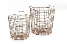 Basket lot 2 paniers en metal cuivre copper