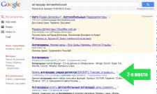 2-е место в региональном поиске google по запросу