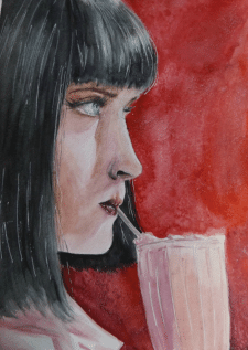 Mia Wallace in watercolor