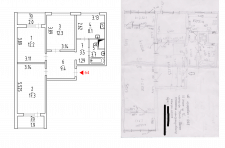 Разработка плана квартиры согласно обмеров