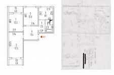 План квартиры согласно обмеров