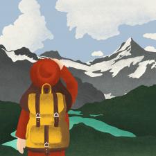 Ілюстрація «дівчина з рюкзаком»