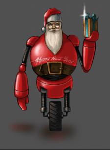 Санта з майбутнього,новорічна листівка