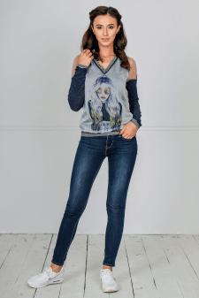 Женский свитшот из трикотажа и шелка, спорт-шик